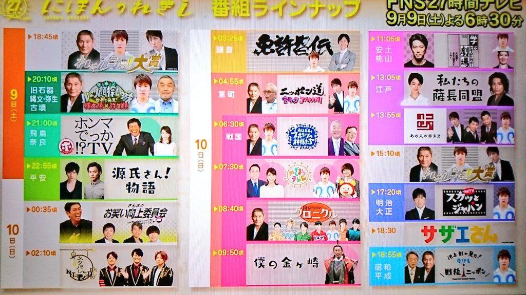 FNS27時間テレビ(9/9~10)にほんのれきし 出演女子アナタイムテーブルを作成!